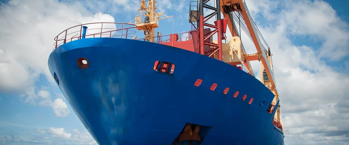 container freighter with a blue coating