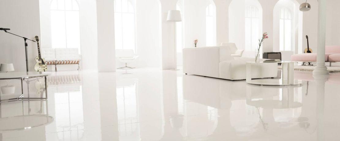 Glossy white flooring
