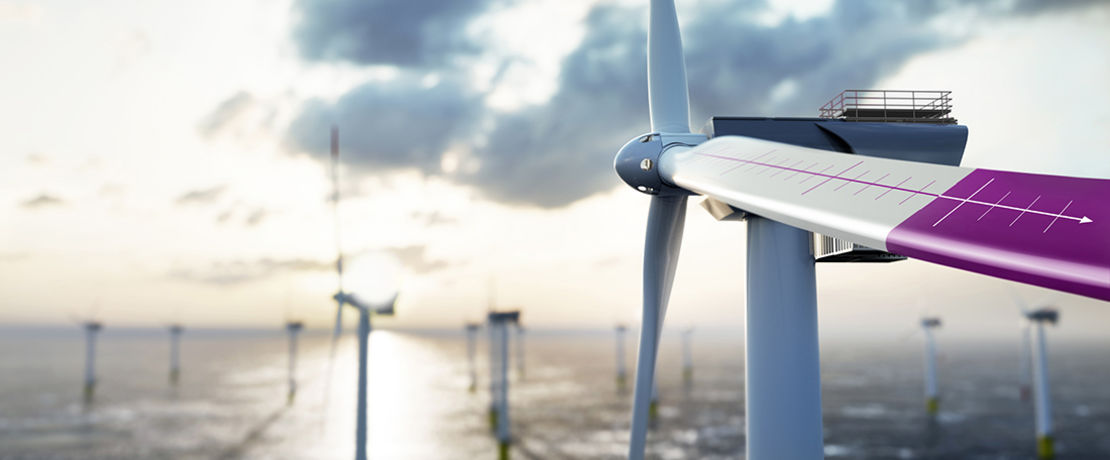 wind turbine with deep purple plate